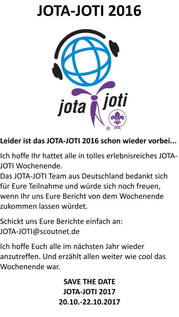 JOTA-JOTI 2016 leider schon vorbei…